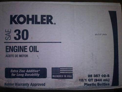 1 Case (12 Quarts) OEM Kohler SAE 30 Engine Oil