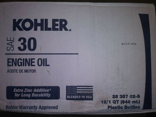 1 Case (12 Quarts) OEM Kohler SAE 30 Engine Oil