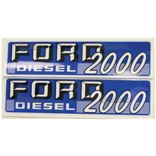 New Ford 2000 Diesel Hood Decal Set (White Letters)
