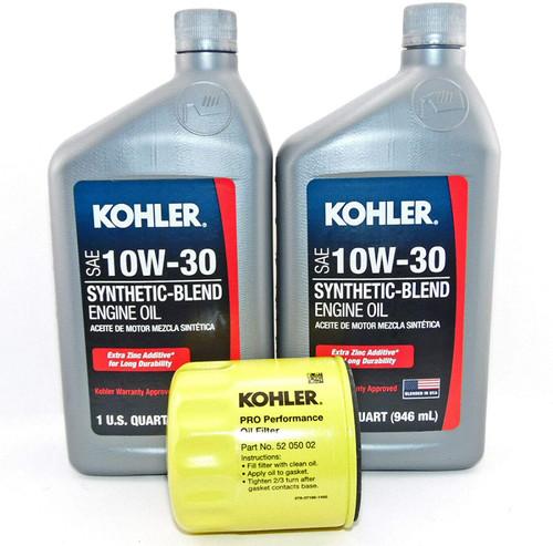 OEM Kohler Oil Change Kit (2) SAE 10W30 Engine Oil & 5205002-S Oil Filter