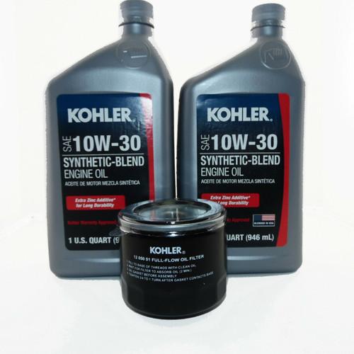 OEM Kohler Oil Change Kit (2) SAE 10W30 Engine Oil & 1205001-S Oil Filter