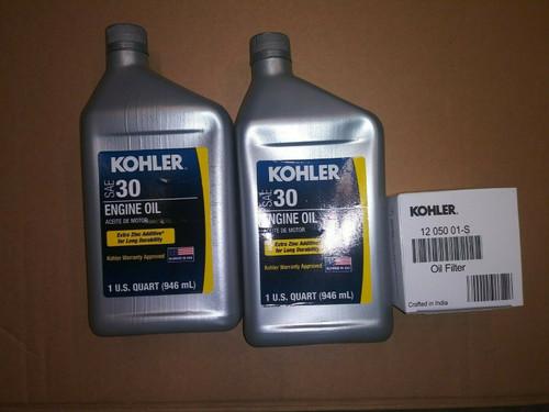 OEM Kohler Oil Change Kit (2) SAE 30 Engine Oil & 1205001-S Oil Filter