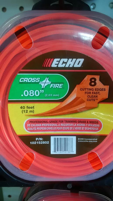 "ECHO 102152802 .080"" Cross Fire Trimmer Line 40' Clamshell"