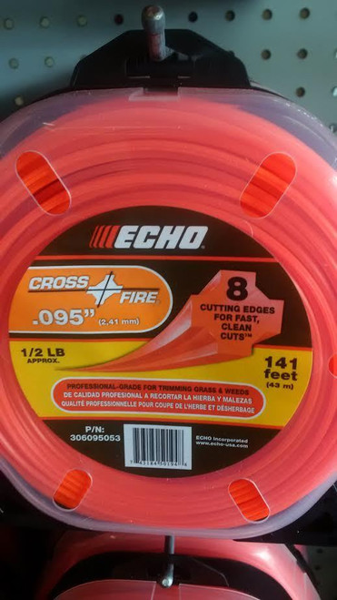 "ECHO 306095053 .095"" Cross Fire Trimmer Line 1/2 LB Donut"