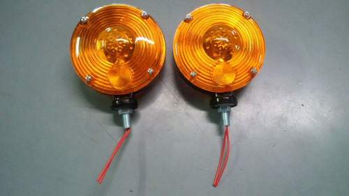 "2 Amber 12 Volt Warning Light 4 1/2"" Dual Sides S71976"