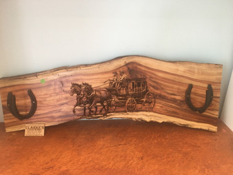 Solid Timber laser engraved hat rack, Horse and carriage with 2 horseshoe hooks