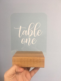 Acrylic signs with Wooden Base