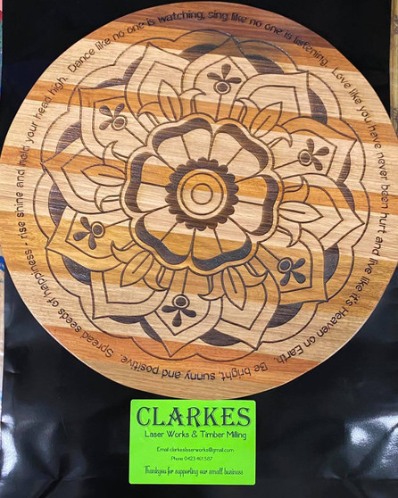 500mm Lazy Susan or Wall Hanging, Choice is yours.  Quote - Be bright sunny and positive. Spread seeds of happiness-rise shine and hold your head high. Dance like no one is watching, sing like no one is listening. Love like you have never been hurt and live like its heaven on earth.