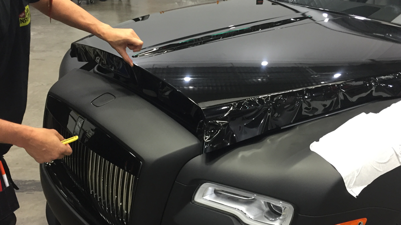 Matte Black and Gloss Black wrap by Car Wrap City in Carrollton, TX