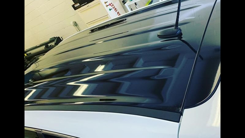 Gloss Black roof wrap by 360 Motorsport Car Wrap in Northbrook, IL