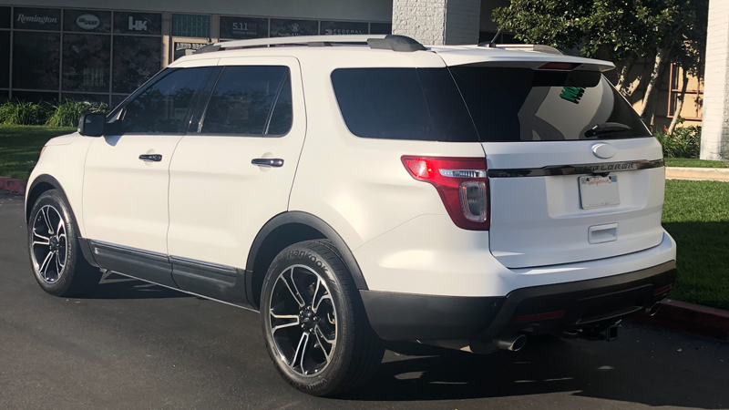 Satin White Ford Explorer wrapped by Gator Wraps (gatorwraps.com)