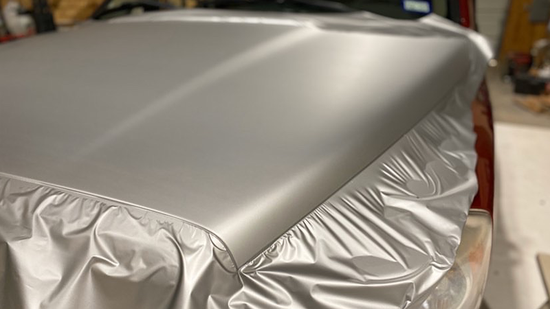 Satin Silver Aluminum wrap by Vinyl Solutions in Fort Worth, TX