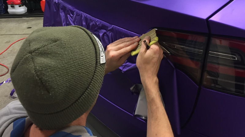 Satin Passion Purple Aluminum wrap in progress by @alpha_wraps_ in Napa, California