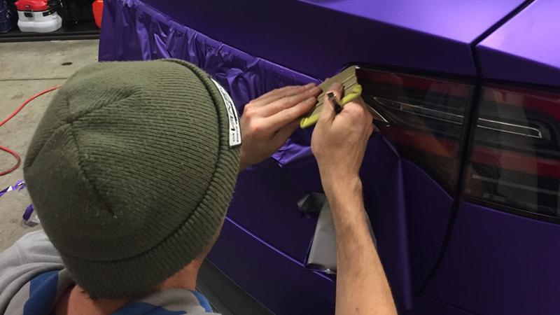 Satin Passion Purple Aluminum wrap in progress by @alpha_wraps_ in Napa, California