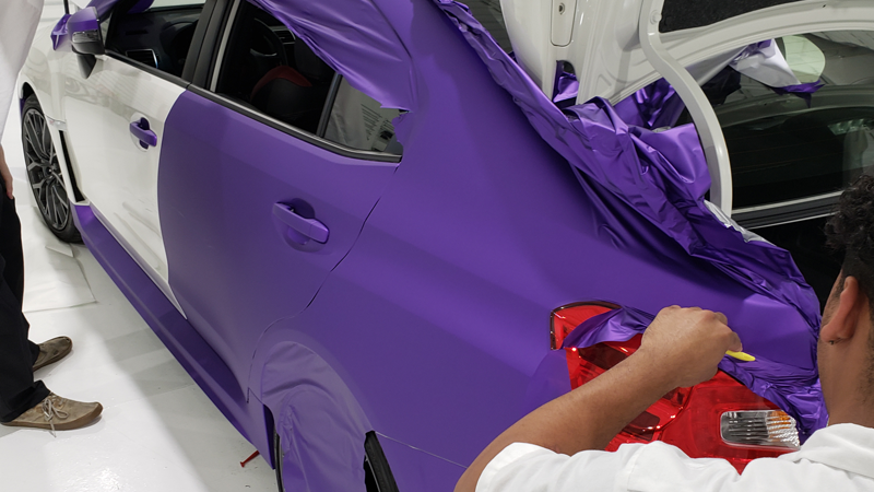Satin Passion Purple Aluminum wrap In progress