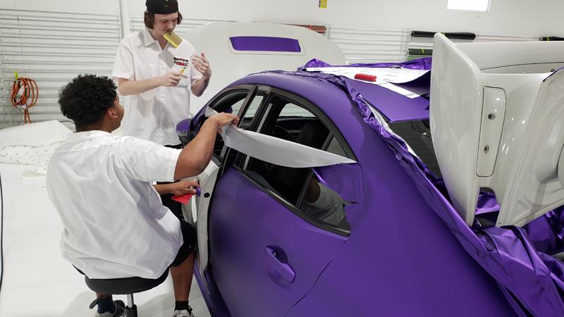 Satin Passion Purple Aluminum wrap In progress