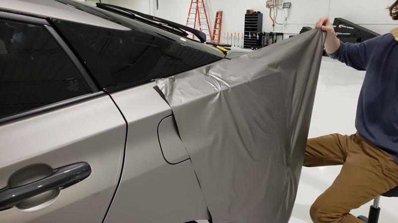 Satin Gray Aluminum Wrap In Progress