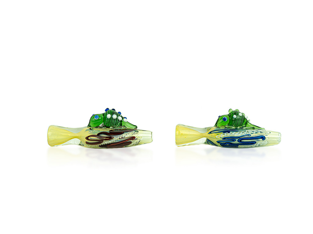 Swirl & Gold Fumed Glass Insect Chillum