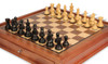 "Fierce Knight Staunton Chess Set Ebonized and Boxwood Pieces with Walnut Chess Case 3"" King - Zoom"