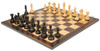 "Fierce Knight Staunton Chess Set Ebonized and Boxwood Pieces with Macassar Ebony Classic Chess Board 3.5"" King - View 1"