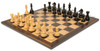 "Fierce Knight Staunton Chess Set Ebonized and Boxwood Pieces with Macassar Ebony Classic Chess Board 3.5"" King - View 2"