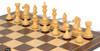 "Fierce Knight Staunton Chess Set Ebonized and Boxwood Pieces with Macassar Ebony Classic Chess Board 4"" King - Boxwood Zoom"