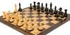 "Fierce Knight Staunton Chess Set Ebonized and Boxwood Pieces with Macassar Ebony Classic Chess Board 4"" King - Zoom 2"