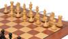 "Fierce Knight Staunton Chess Set Ebonized and Boxwood Pieces with Mahogany Classic Chess Board 4"" King - Boxwood Zoom"