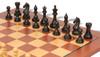 "Fierce Knight Staunton Chess Set Ebonized and Boxwood Pieces with Mahogany Classic Chess Board 4"" King - Ebonized Zoom"