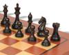 "Fierce Knight Staunton Chess Set Ebonized & Boxwood Pieces with Classic Mahogany Chess Board - 4"" King"