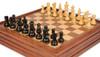 "French Lardy Staunton Chess Set in Ebonized Boxwood with Walnut Chess & Backgammon Case - 3.25"" King"