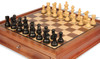 "French Lardy Staunton Chess Set Ebonized and Boxwood Pieces with Walnut Chess Case 3.25"" King - Zoom"