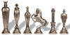 Renaissance Theme Chess Set with Brass & Nickel Pieces by Italfama