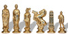 Caesar Theme Metal Chess Set with Elm Burl Chess Board