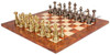 Large Staunton Metal Chess Set with Elm Burl Chess Board