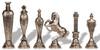 Renaissance Theme Metal Chess Set with Elm Burl Chess Board