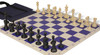 Master Series Easy-Carry Plastic Chess Set Black & Tan Pieces with Blue Roll-up Chess Board & Bag