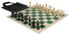 Master Series Easy-Carry Plastic Chess Set Black & Tan Pieces with Green Roll-up Chess Board