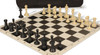 Master Series Carry-All Plastic Chess Set Black & Tan Pieces with Black Roll-up Chess Board & Bag