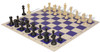 Master Series Plastic Chess Set Black & Tan Pieces with Blue Roll-up Chess Board