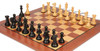 "New Exclusive Staunton Chess Set Ebonized & Boxwood Pieces with Classic Mahogany Chess Board  - 3"" King"