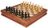 "New Exclusive Staunton Chess Set Ebonized & Boxwood Pieces with Walnut Chess Case - 3.5"" King"