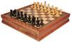 "Yugoslavia Staunton Chess Set Ebonized & Boxwood Pieces with Walnut Chess Case - 3.25"" King"