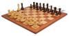 "Yugoslavia Staunton Chess Set in Rosewood & Boxwood with Mahogany & Maple Chess Board - 3.875"" King"