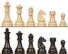"""German Knight Plastic Chess Set Black & Aged Ivory Pieces - 3.9"""" King"""