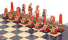 Large Egyptian Theme Hand Painted Metal Chess Set with Blue Ash Burl Chess Board