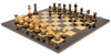 """Parker Staunton Chess Set Burnt Boxwood Pieces with Black Ash Burl Chess Board - 3.75"""" King"""