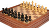 "German Knight Staunton Chess Set in Ebonized Boxwood with Walnut Chess & Backgammon Case - 3.25"" King"