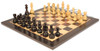"German Knight Staunton Chess Set Ebonized and Boxwood Pieces 3.25"" King with Macassar Ebony Chess Board View 1"