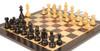 "German Knight Staunton Chess Set Ebonized and Boxwood Pieces 3.25"" King with Macassar Ebony Chess Board Zoom 1"